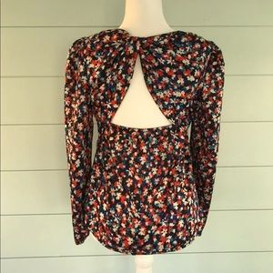 I HEART RONSON Open Back Long Sleeve Floral Top
